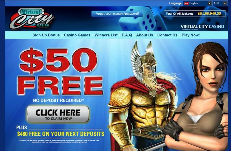 Фантастический бонус от Virtual City Casino 50 $ за регистрацию