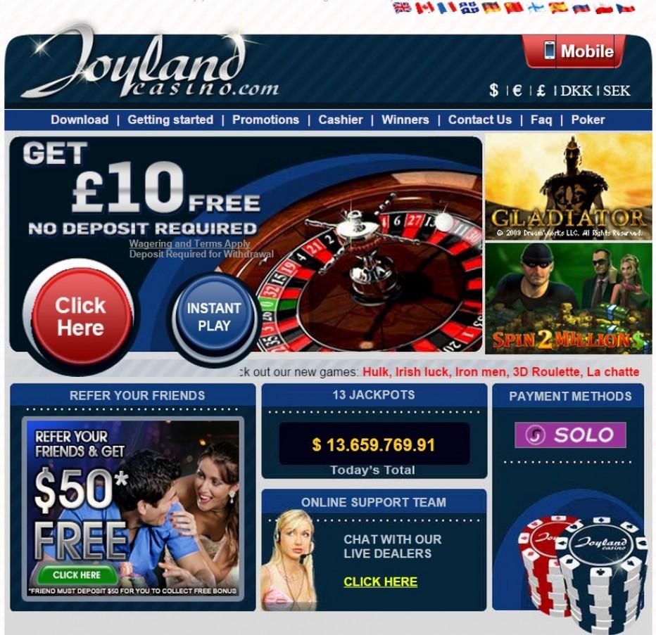 25 $€ бесплатно для новых игроков  от Joyland Casino