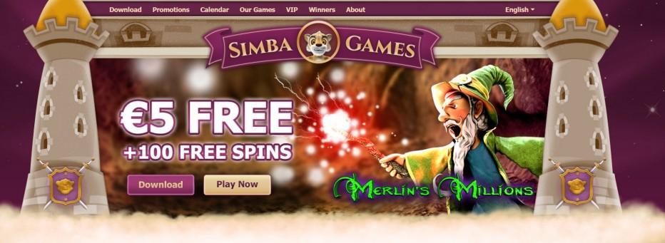 Приветственный бонус 5 € без депозита от Simba Games Casino