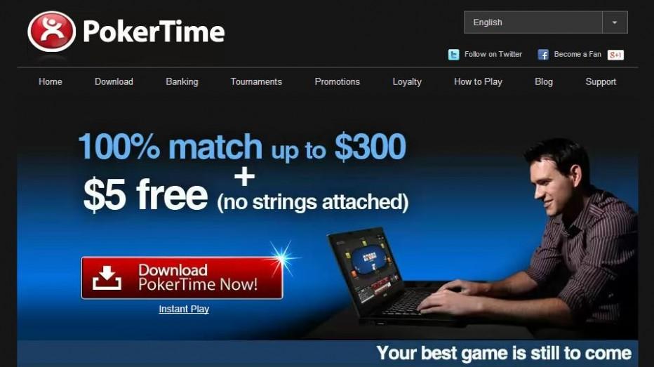 $5 PokerTime Бездепозитный бонус