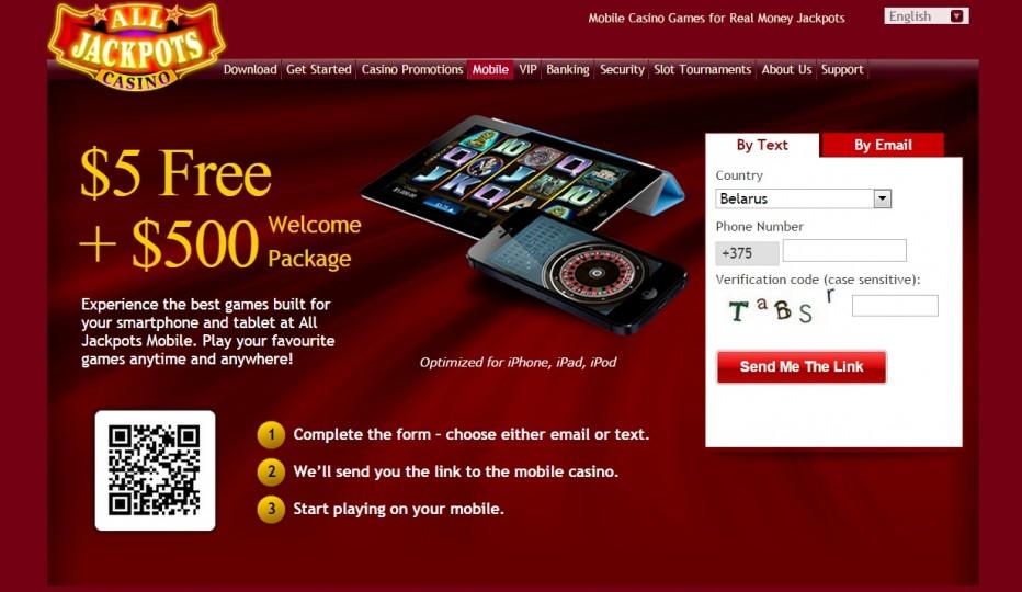 только для мобильных устройствот 5 $€£ без внесения депозита в ALL JACKPOTS казино