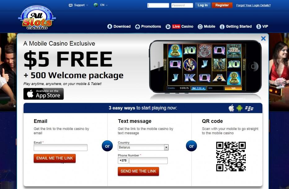 Бонус 5 $ для мобильных устройств от казино Allslots
