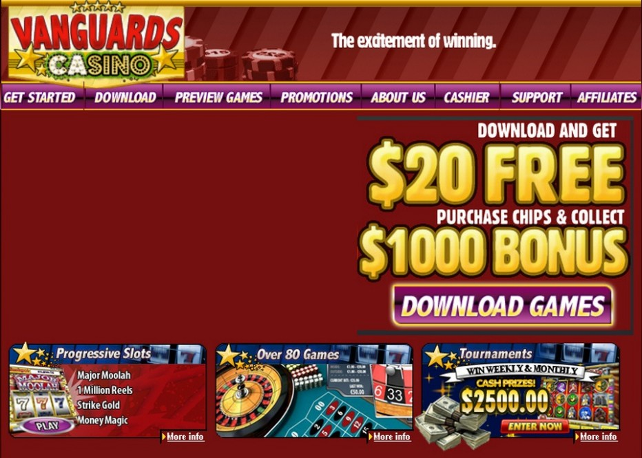 Приветственный бонус 20$ от Vanguard Casino