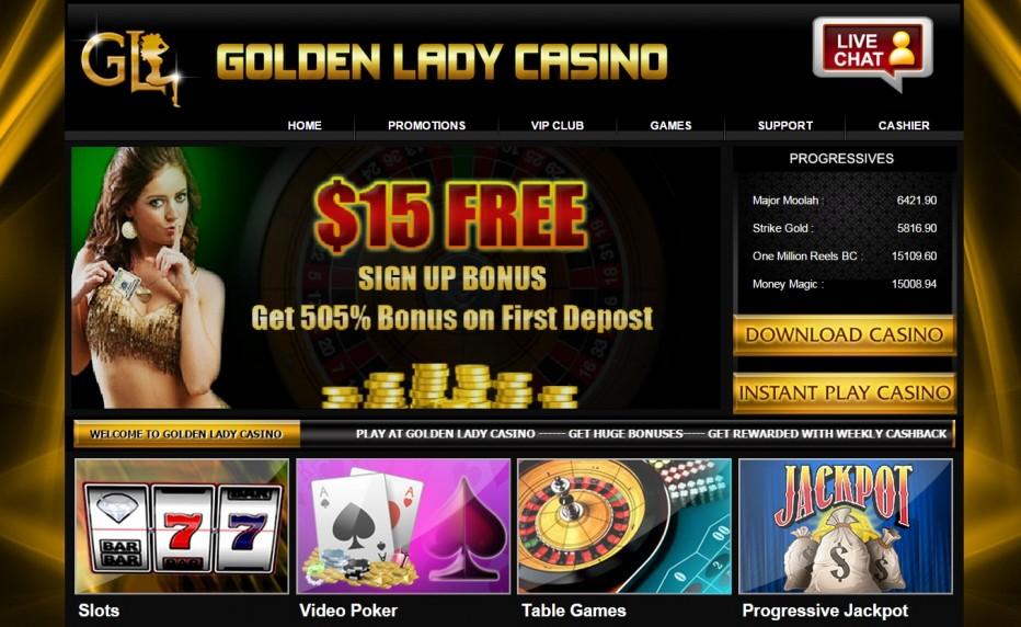 Бонус 15$ без депозита от Golden Lady Casino