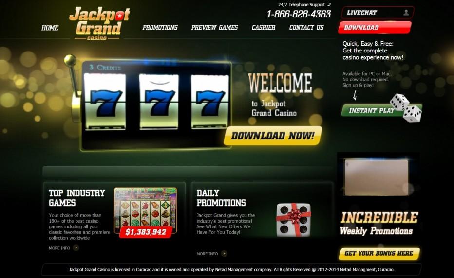 20 $ + 10 бесплатных вращений для новых игроков в казино Jackpot Grand