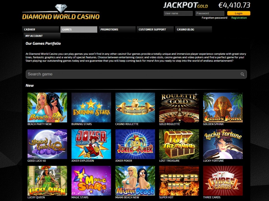 Бонус 15 € без внесения депозита от Diamond World Casino