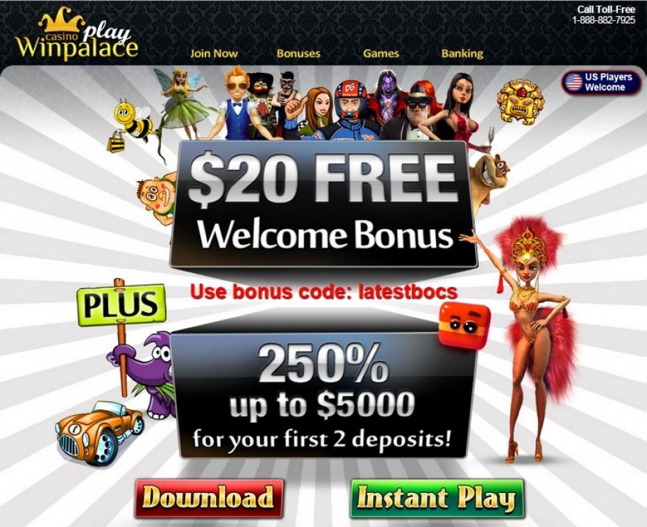 Только для новых игроков 20 $ без депозита от WinPalacePlay казино
