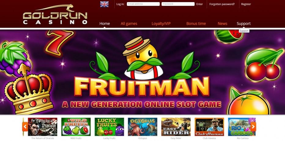 20 фри-спинов за регистрацию в онлайн казино Goldrun на слот Fruitman