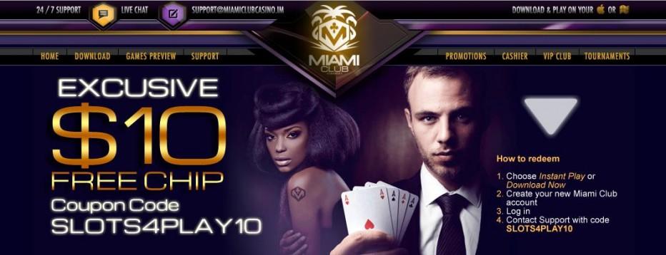 Бездепозитный бонус $10 Miami Club
