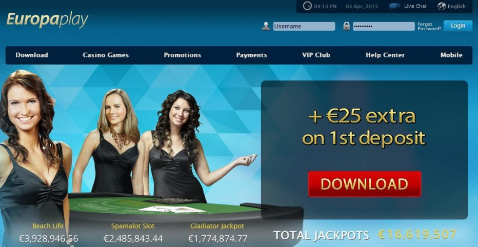 Бездепозитный бонус 25 Free Spins Europa Play Casino