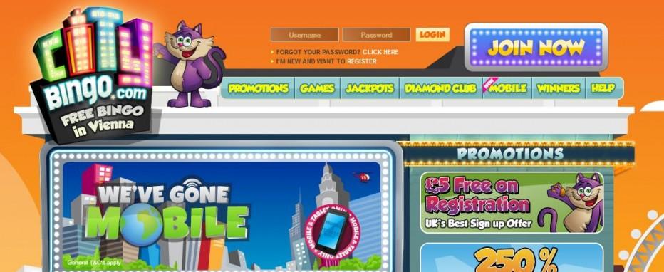 Бездепозитный бонус £/$/€5 City Bingo