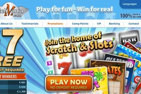 Бездепозитный бонус £/$/€7 Scratch Mania
