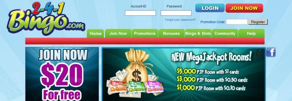 Бездепозитный бонус 20$ 2-4-1 Bingo