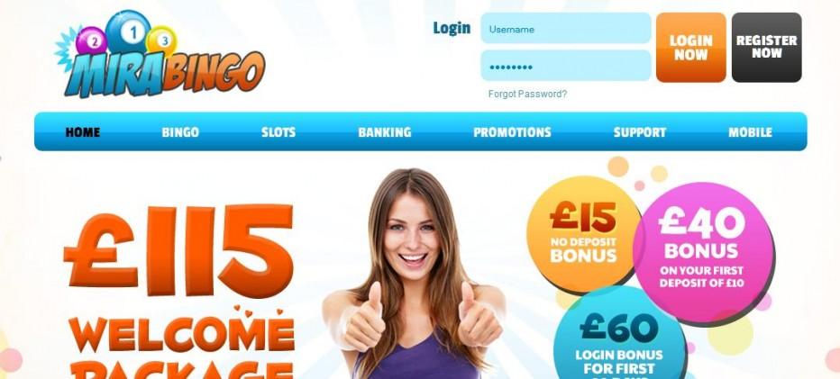 Бездепозитный бонус £/$/€15 Mira Bingo