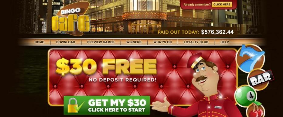 Бездепозитный бонус 30$ Bingo Cafe