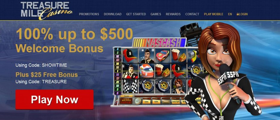 Бездепозитный бонус 25$ Treasure Mile Casino