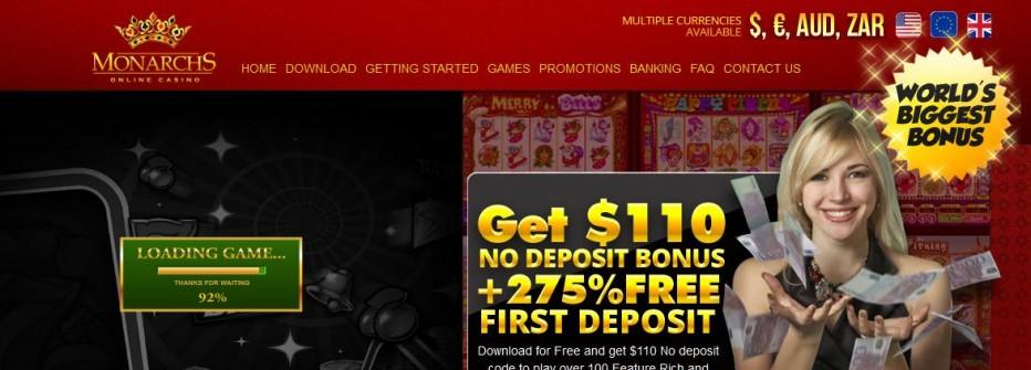 Бездепозитный бонус 200$ Monarchs Casino