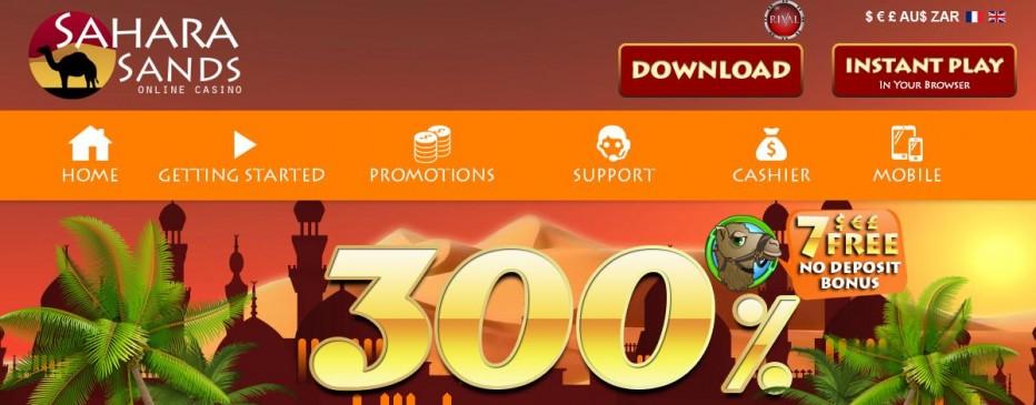 Бездепозитный бонус 7$ Sahara Sands Casino