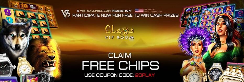 Бездепозитный бонус 20$ Cleos VIP Room
