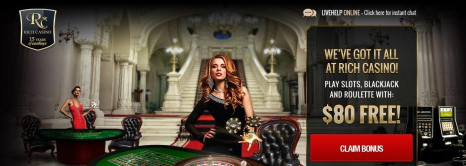 Бездепозитный бонус 80$ Rich Casino