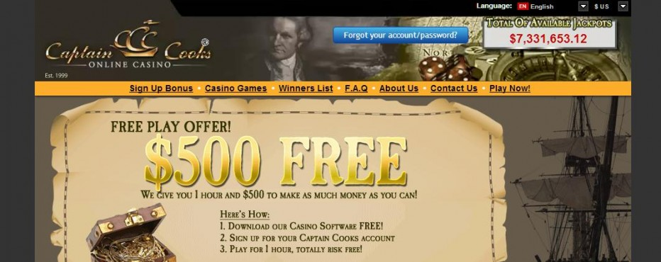 Free Play 500$ Captain Cooks Casino