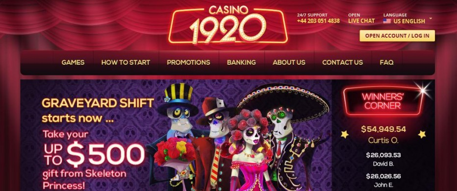 Бездепозитный бонус 25$ 1920 Casino