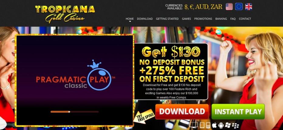 Бездепозитный бонус 75$ Tropicana Gold Casino
