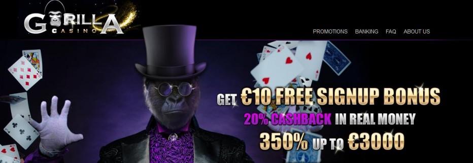 Бездепозитный бонус 10€ Gorilla Casino