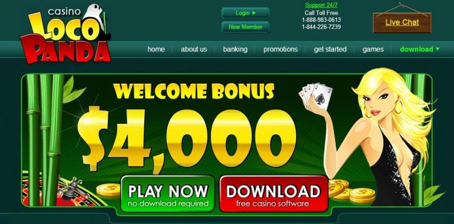 100 бесплатных вращений Loco Panda Casino (Казино закрыто)