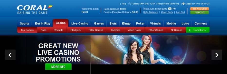 Бездепозитный бонус 10$ Coral Casino