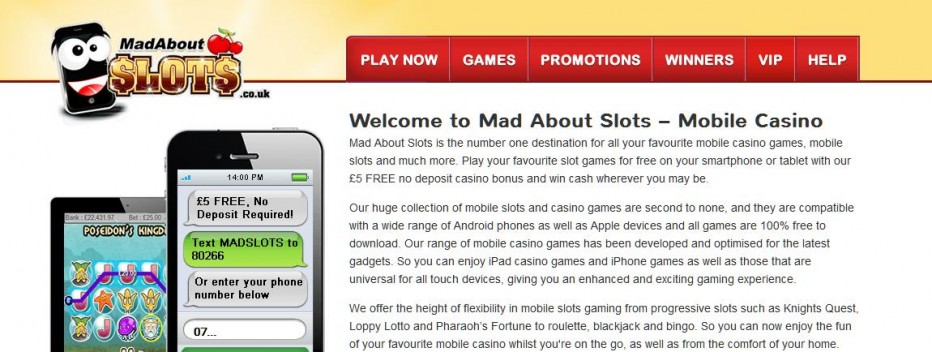 Бездепозитный бонус 5£ Mad About Slots