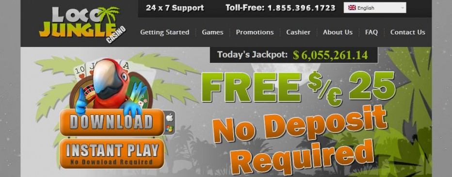 Бездепозитный бонус 25€ LocoJungle Casino