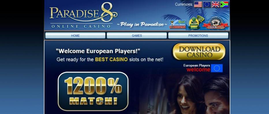 Бездепозитный бонус 88€ Paradise 8 Casino