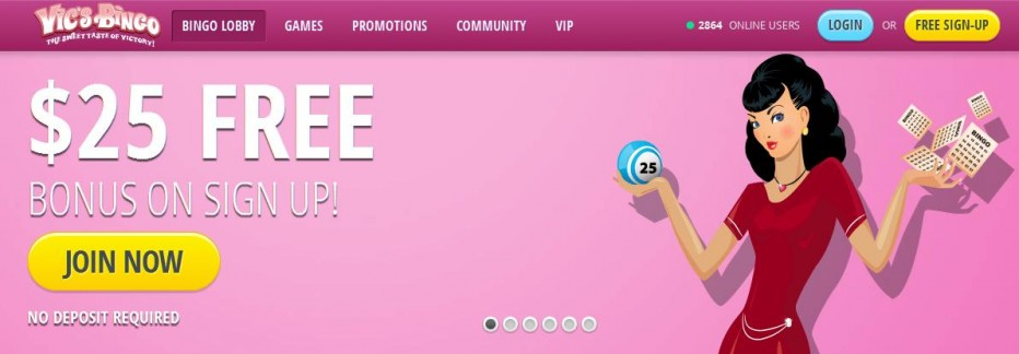 Бездепозитный бонус $25 Vic's Bingo