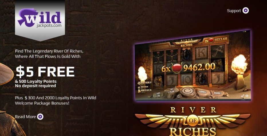Бездепозитный бонус 5$ + 500 баллов WildJackpots Casino
