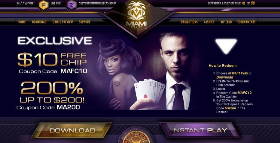 Бездепозитный бонус 10$ Miami Club Casino