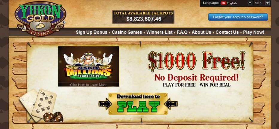 Free Play 1000$ Yukon Gold Casino