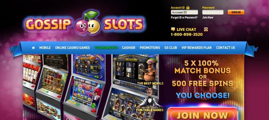 50 бесплатных вращений + $5 Gossip Slots Casino