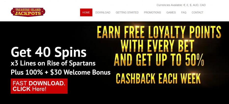 39 бесплатных вращений Treasure Island Jackpots Casino