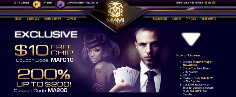 Бездепозитный бонус 5$ Miami Club Casino
