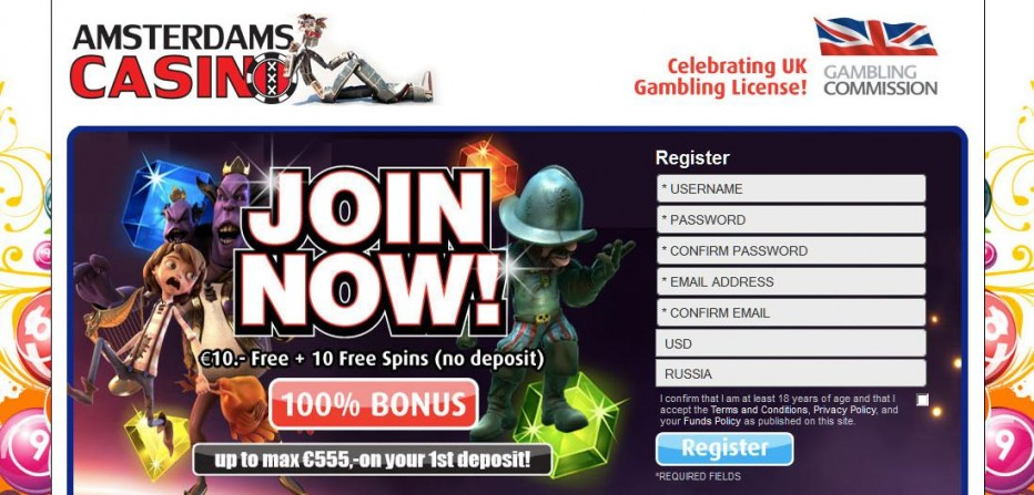 Бездепозитный бонус 10€ Amsterdams Casino