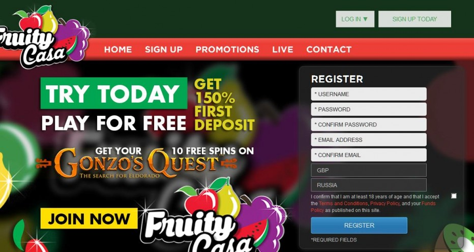 10 бесплатных вращений FruityCasa Casino
