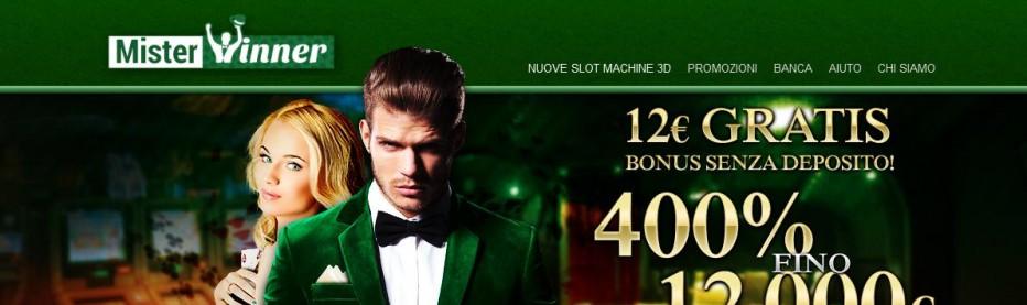 Бездепозитный бонус 12€ Mister Winner Casino