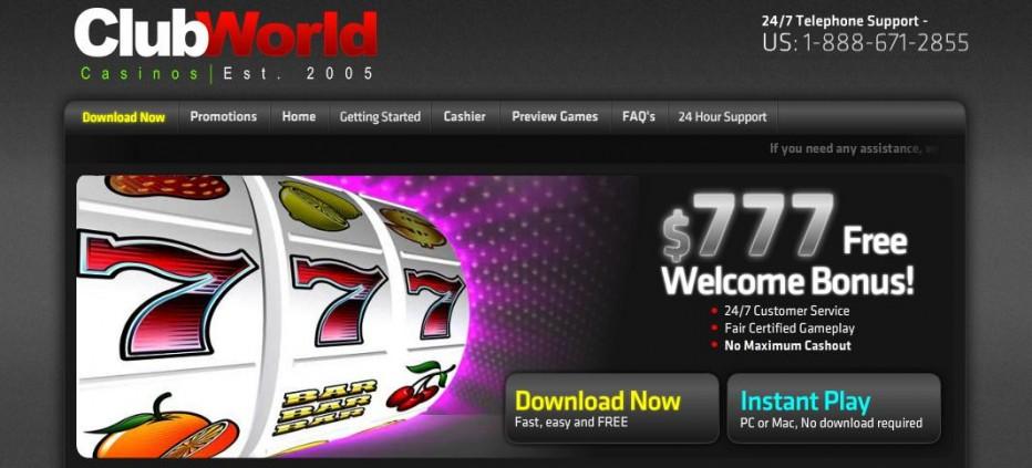 100 бесплатных вращений Club USA (Club World) Casino