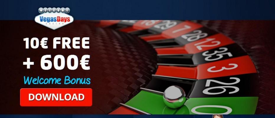 Бездепозитный бонус €10 Vegas Days Casino