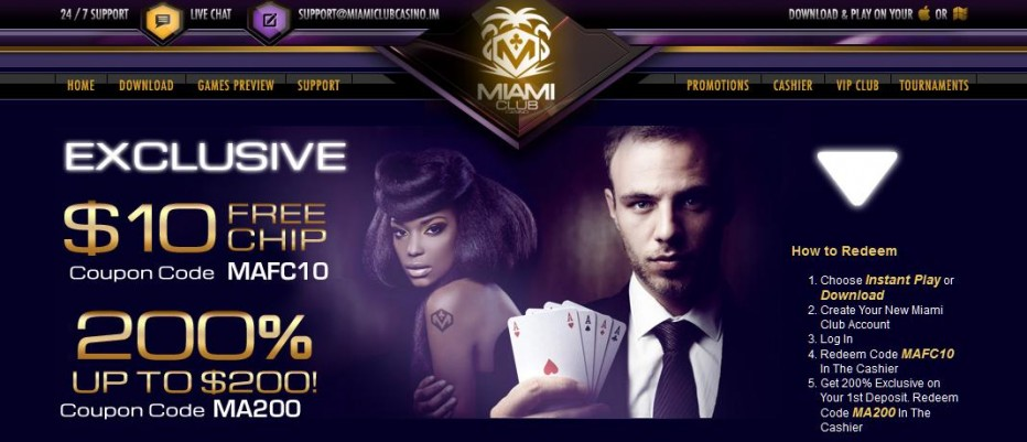 Бездепозитный бонус $5 Miami Club Casino