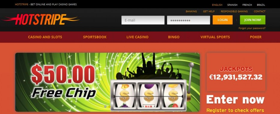 Бездепозитный бонус 10€ Hotstripe Casino