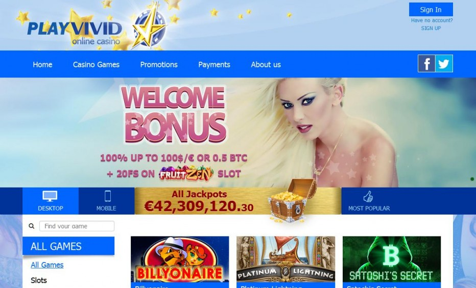 20 бесплатных вращений VIVID Casino