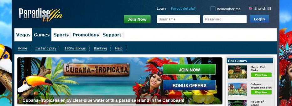 Бездепозитный бонус €20 ParadiseWin Casino