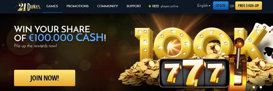 Бездепозитный бонус $76 21Dukes Casino